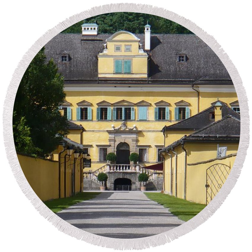 Austria Round Beach Towel featuring the photograph Salzburg Chateau by Carol Groenen