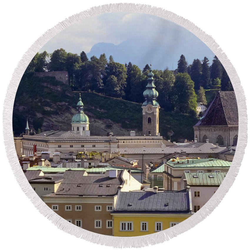 Salzburg Austria Tree Trees Building Buildings Structure Structures Architecture Landscape Landscapes Church Churches Place Places Of Worship City Cities Cityscape Cityscapes Round Beach Towel featuring the photograph Salzburg City View Three by Bob Phillips