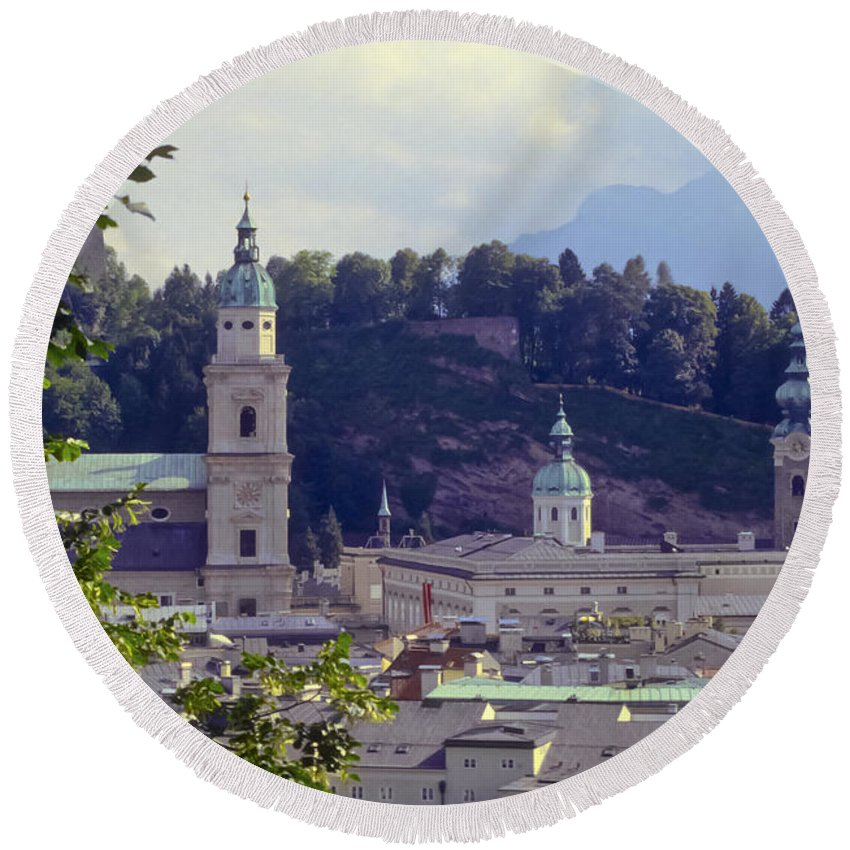 Salzburg Austria Tree Trees Building Buildings Structure Structures Architecture Landscape Landscapes Church Churches Place Places Of Worship City Cities Cityscape Cityscapes Round Beach Towel featuring the photograph Salzburg City View Two by Bob Phillips