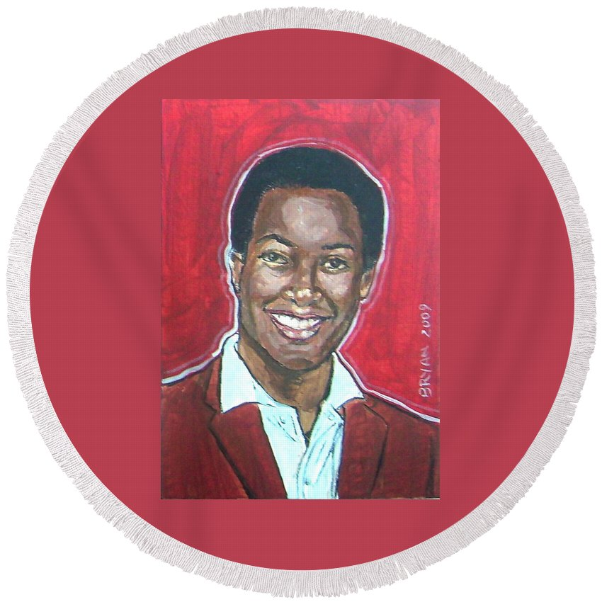 Sam Cooke Round Beach Towel featuring the painting Sam Cooke by Bryan Bustard