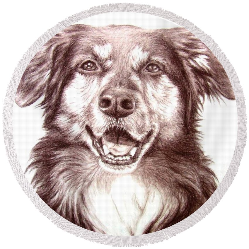 Dog Round Beach Towel featuring the drawing Sam by Nicole Zeug