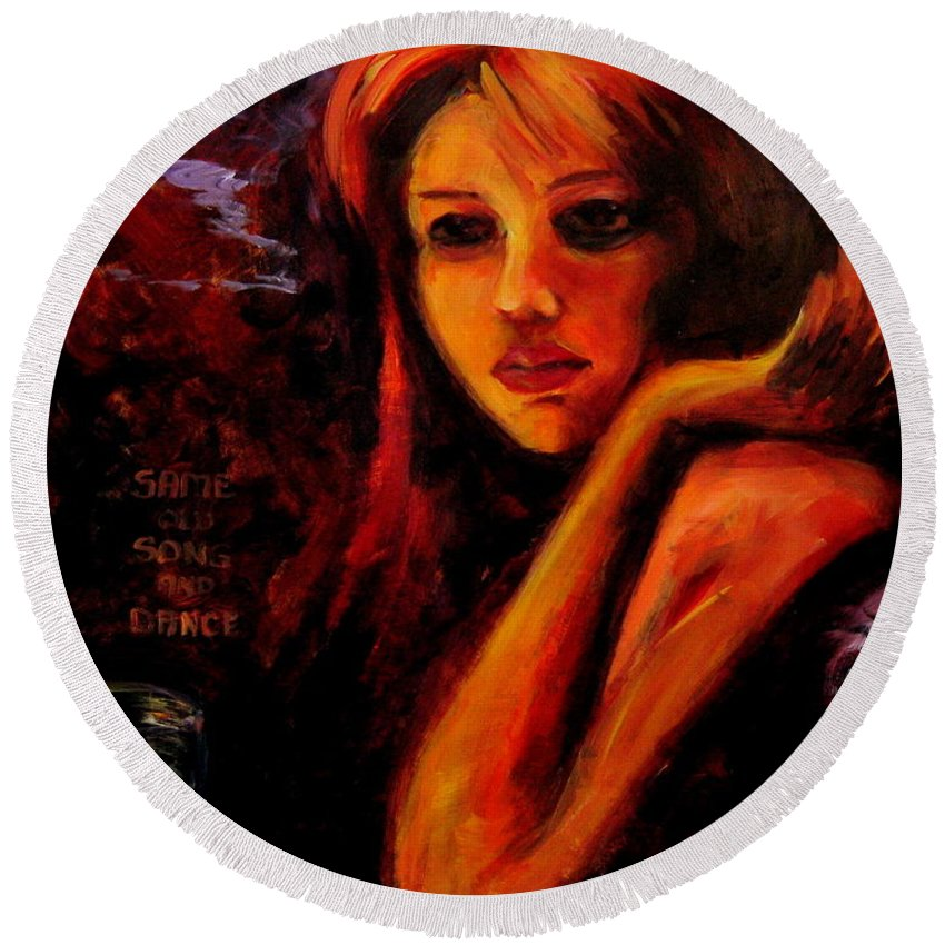 Woman Round Beach Towel featuring the painting Same Old Song And Dance by Jason Reinhardt