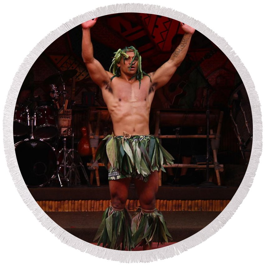 Warrior Dancer Round Beach Towel featuring the photograph Samoan Warrior by Denise Mazzocco