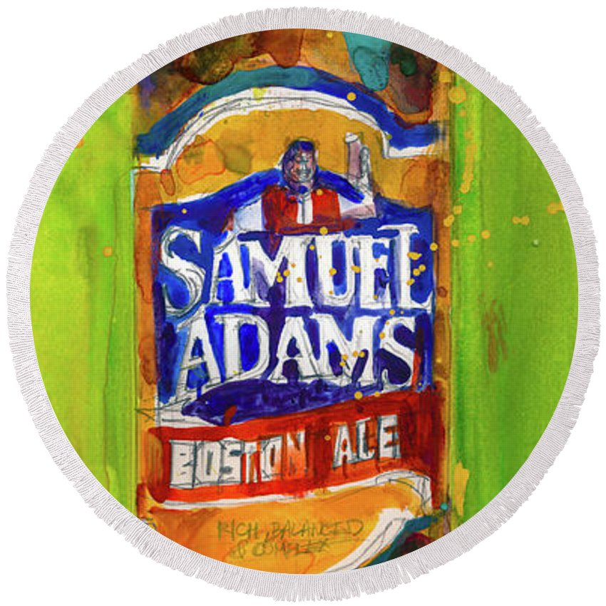 Beer Art Round Beach Towel featuring the painting Samuel Adams Boston Ale by Dorrie Rifkin