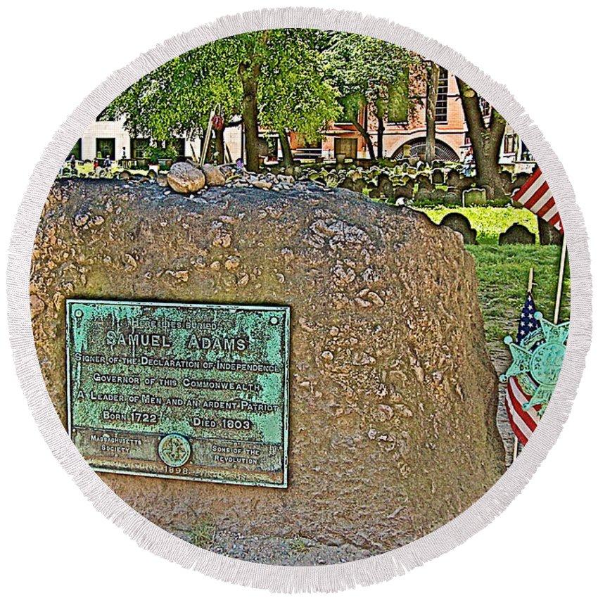Samuel Adams Gravestone At Granary Burying Ground In Boston Round Beach Towel featuring the photograph Samuel Adams Gravestone At Granary Burying Ground In Boston-massachusetts by Ruth Hager
