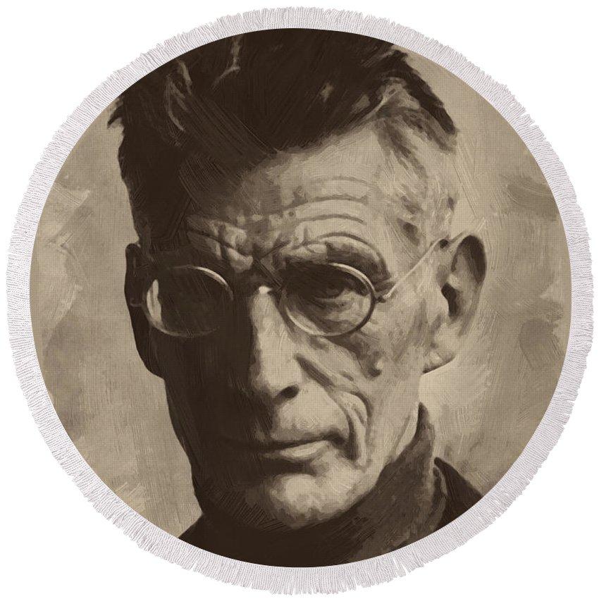 Samuel Beckett Round Beach Towel featuring the painting Samuel Beckett 1 by Afterdarkness
