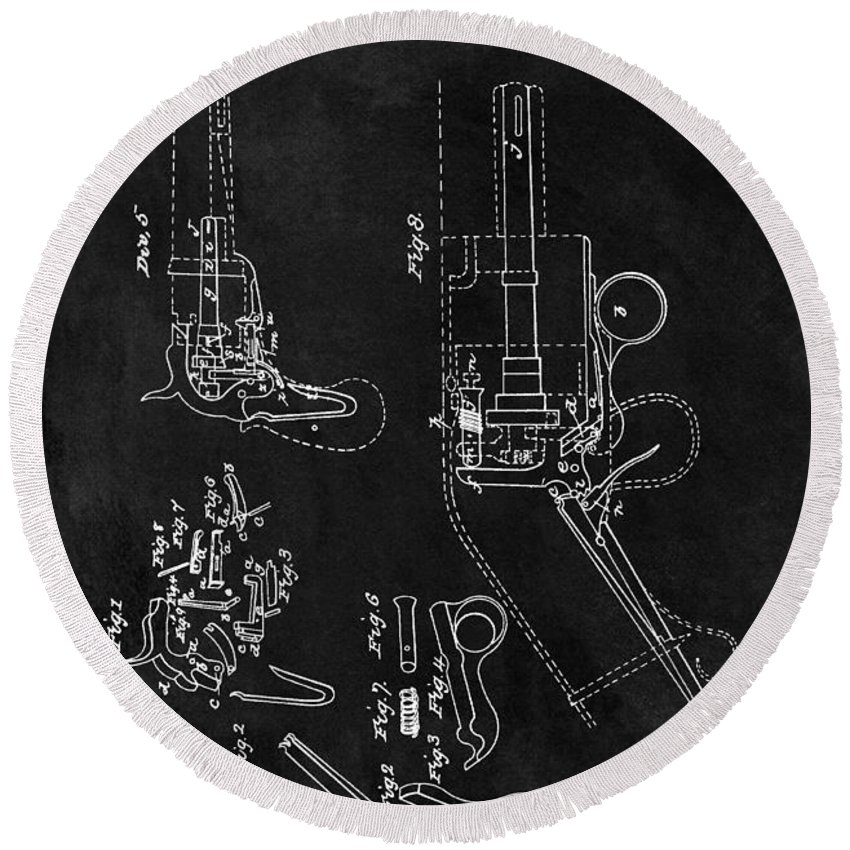 1836 Colt Revolver Patent Round Beach Towel featuring the drawing Samuel Colt 1836 Revolver Patent by Dan Sproul