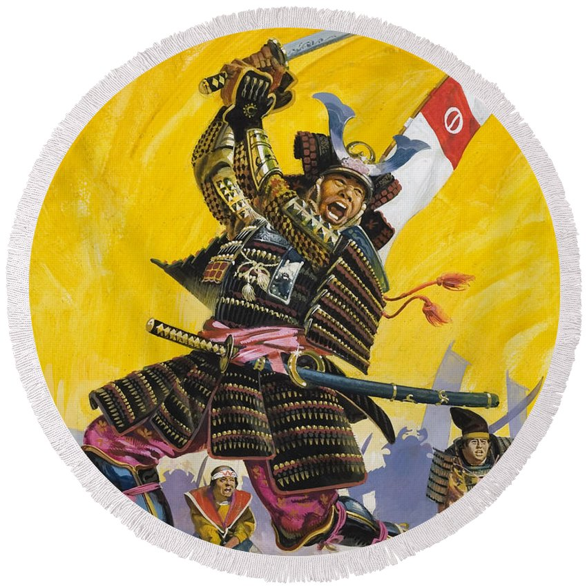 Japan; Japanese; Warrior; Traditional Costume; Elaborate; Fight; Battle; Fighting; Sword; Swords; Swordsman; Ferocious; Samourai; Samourais Round Beach Towel featuring the painting Samurai Warriors by English School