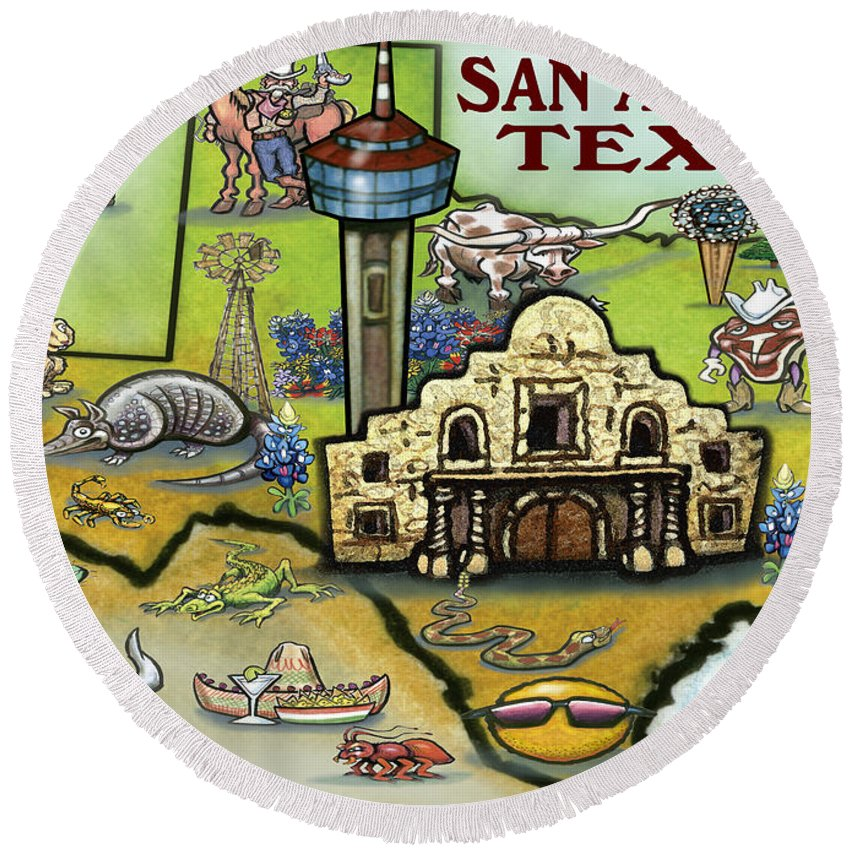 San Antonio Round Beach Towel featuring the digital art San Antonio Texas by Kevin Middleton