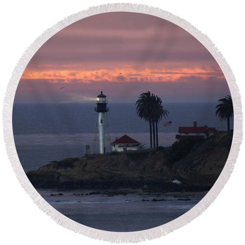 San Deigo Round Beach Towel featuring the photograph San Diego Lighthouse by Heather Coen