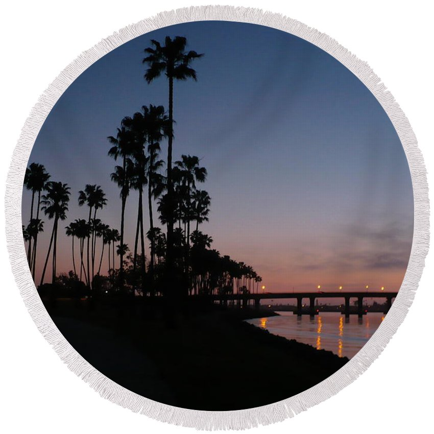 Sunset Round Beach Towel featuring the photograph San Diego Sunset With Palm Trees by Carol Groenen