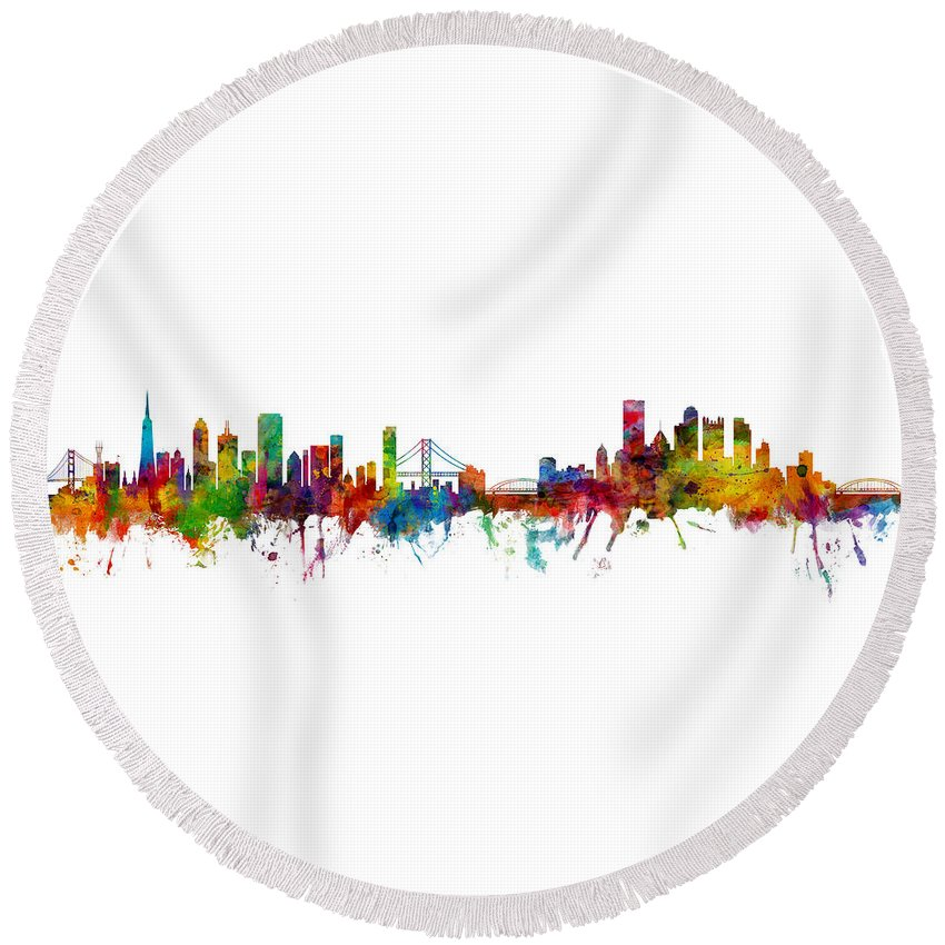 Pittsburgh Round Beach Towel featuring the digital art San Francisco And Pittsburgh Skylines Mashup by Michael Tompsett