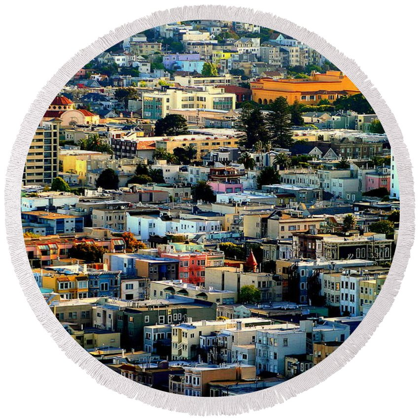Michael Joseph Hoard Photos Round Beach Towel featuring the photograph San Francisco California Scenic Rooftop Landscape by Michael Hoard
