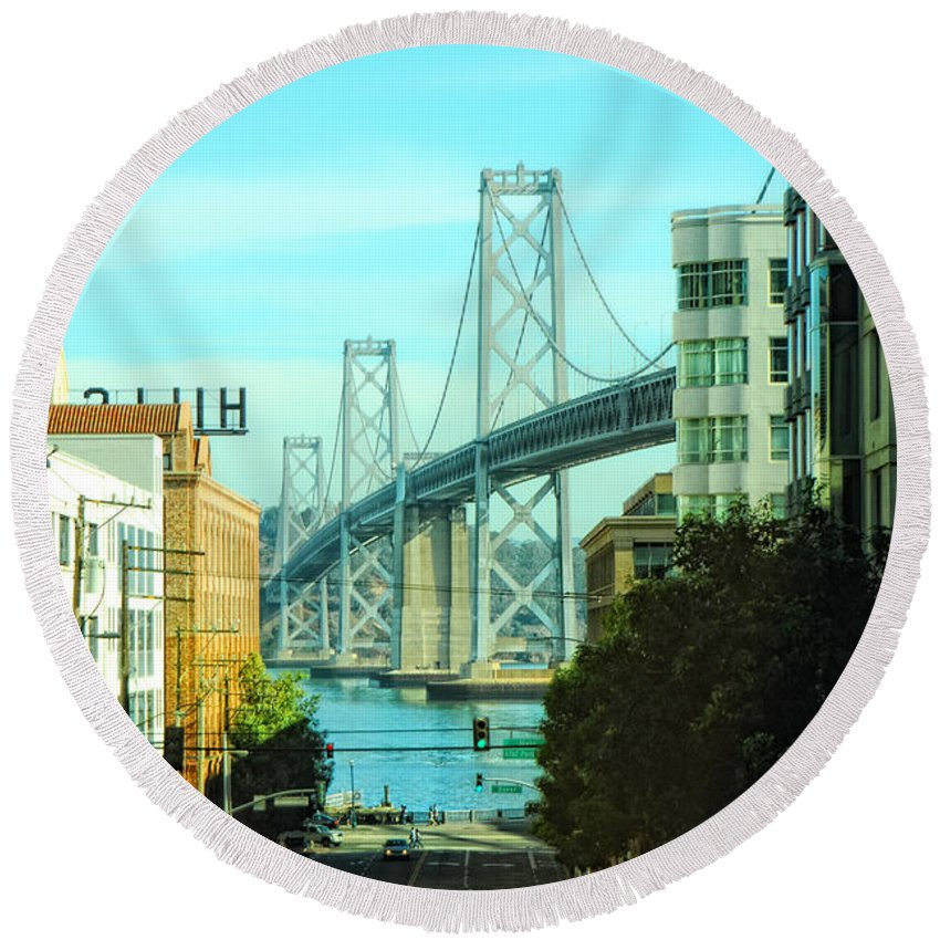 San Francisco Round Beach Towel featuring the photograph San Francisco Street by Donna Blackhall