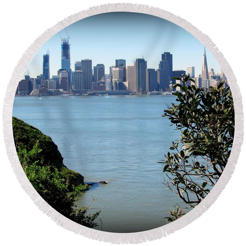 San Francisco Round Beach Towel featuring the photograph San Franciso by Joy Patzner