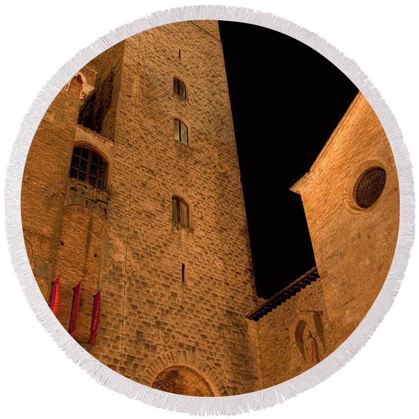 Italy Round Beach Towel featuring the photograph San Gimignano by Colette Panaioti