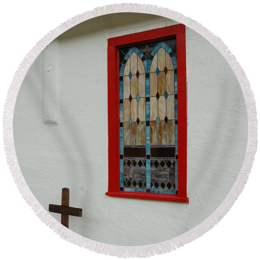 Church Round Beach Towel featuring the photograph San Iglesia Church Window by Jerry McElroy