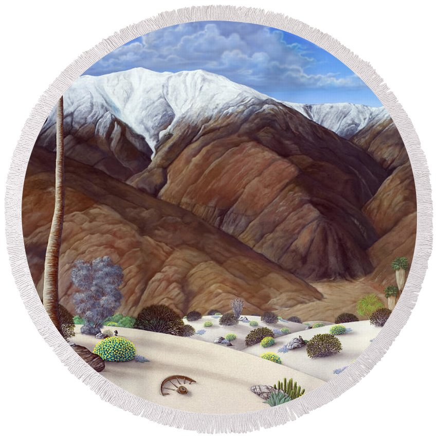 Desert Round Beach Towel featuring the painting Snow Creek by Snake Jagger