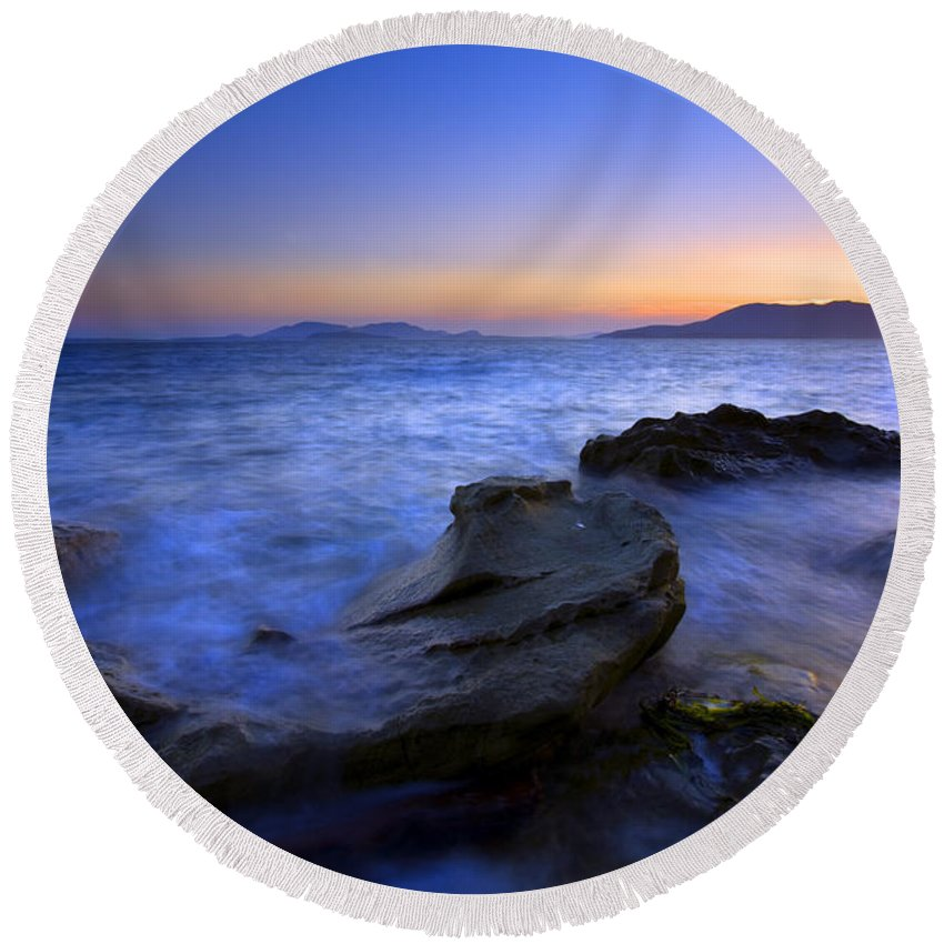 Sunset Round Beach Towel featuring the photograph San Juan Sunset by Mike Dawson