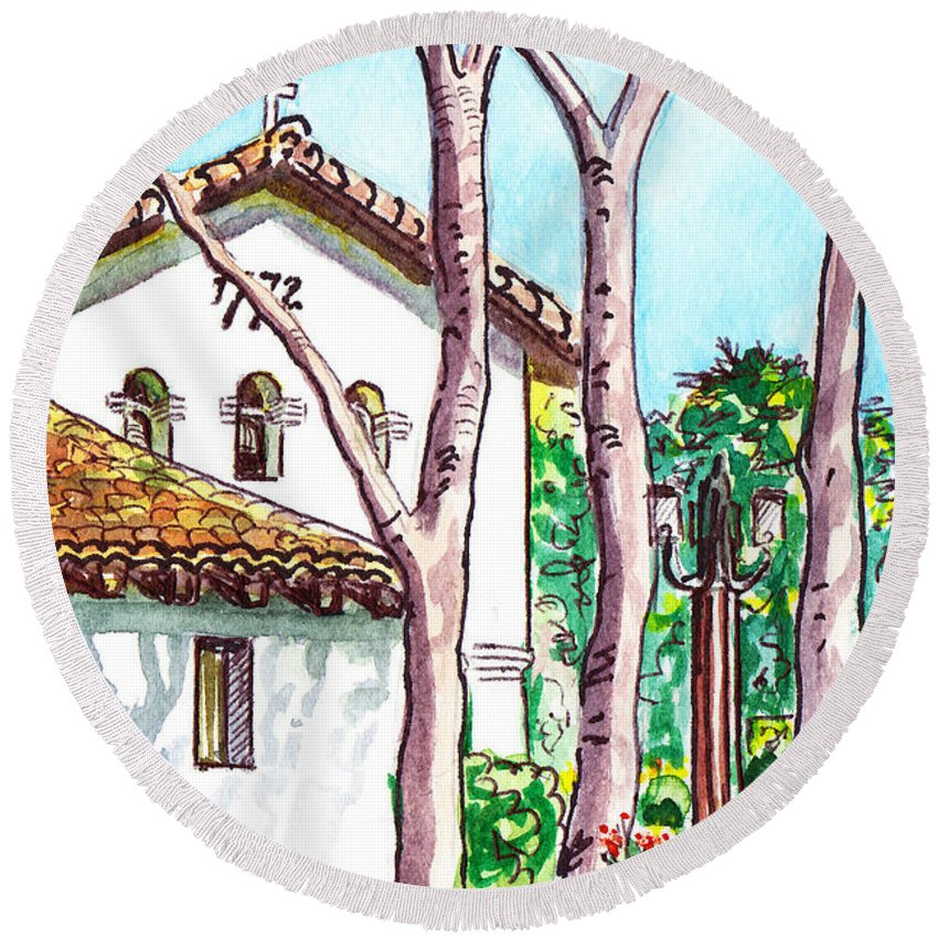 Mission Round Beach Towel featuring the painting San Louis Obispo Mission by Irina Sztukowski
