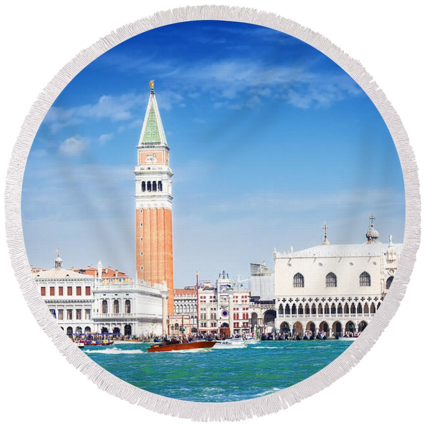Venezia Round Beach Towel featuring the photograph San Marco Square Waterfront by Anastasy Yarmolovich