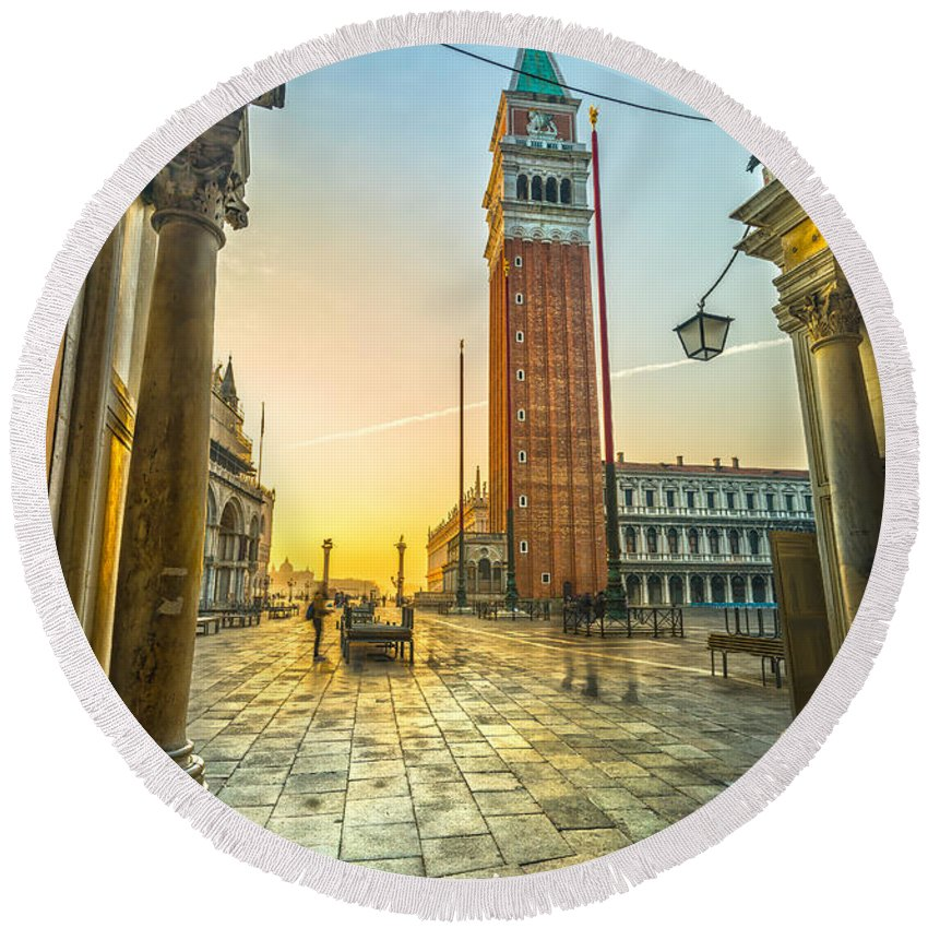 Italy Round Beach Towel featuring the photograph San Marco - Venice - Italy by Luciano Mortula