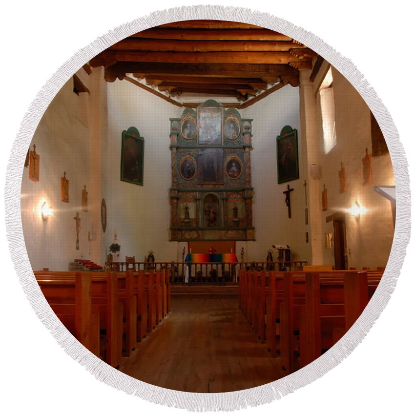 San Miguel Mission Round Beach Towel featuring the photograph San Miguel Mission Church by David Lee Thompson