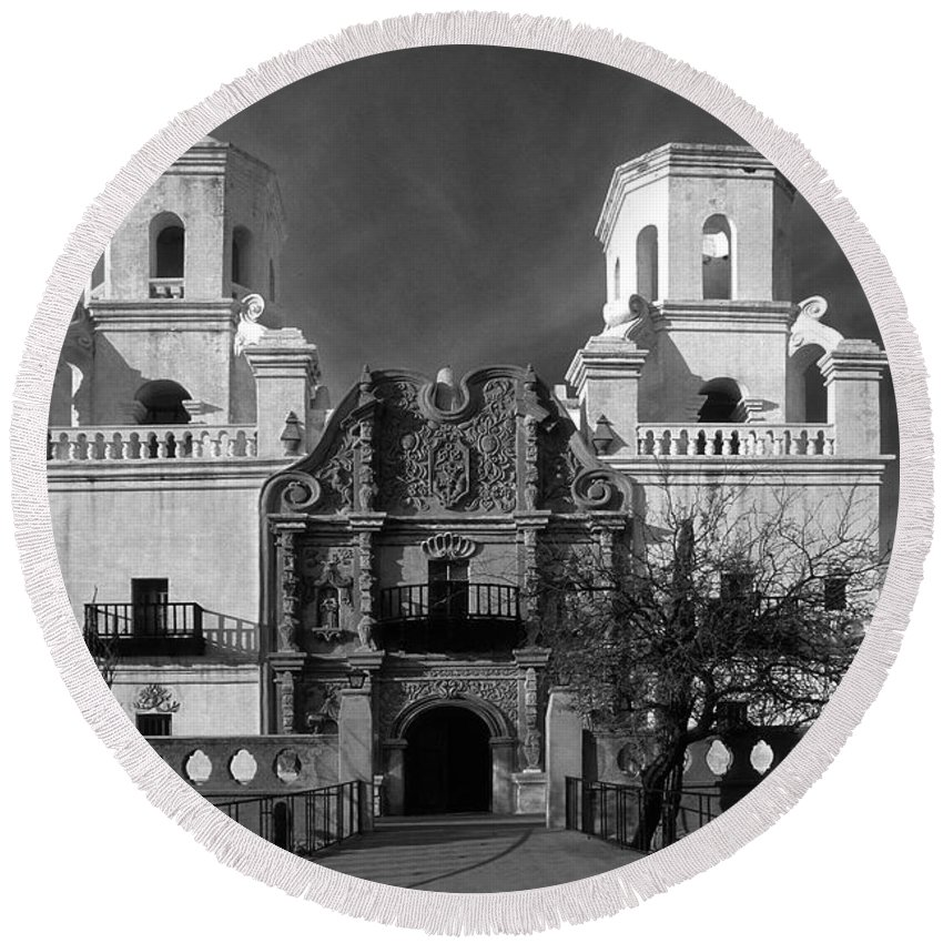 B&w Round Beach Towel featuring the photograph San Xavier Del Bac Mission by Sandra Bronstein