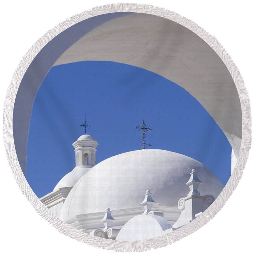 Southwest Round Beach Towel featuring the photograph San Xavier Del Bac by Sandra Bronstein