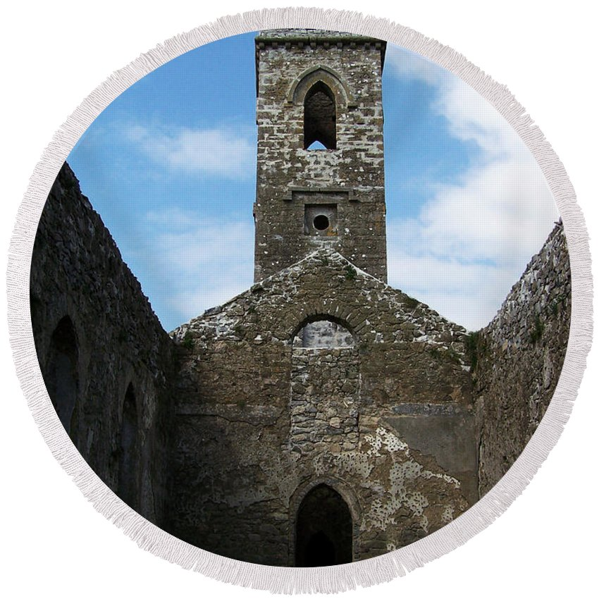 Ireland Round Beach Towel featuring the photograph Sanctuary Fuerty Church Roscommon Ireland by Teresa Mucha
