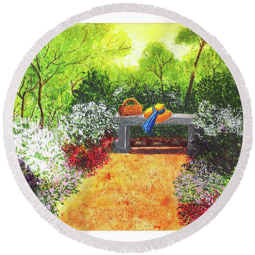 Garden Painting Round Beach Towel featuring the painting Sanctuary by Patricia Griffin Brett