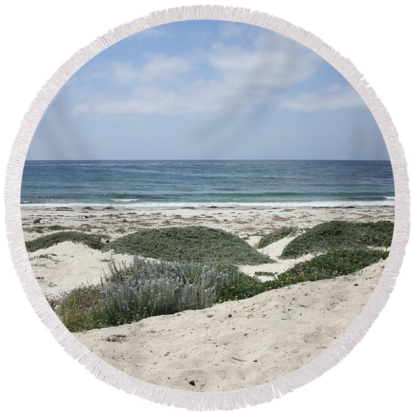 Sandy Beach Round Beach Towel featuring the photograph Sand and Sea by Carol Groenen