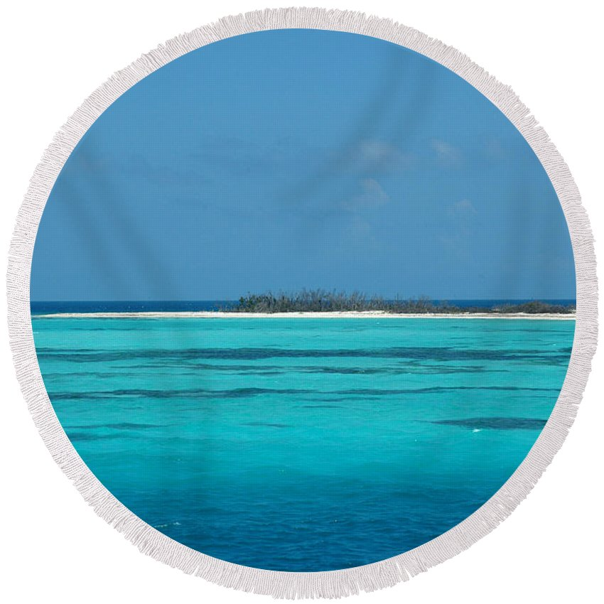 Sand Bar Island Round Beach Towel featuring the photograph Sand Bar Island by Susanne Van Hulst