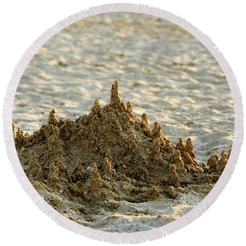 Sand Round Beach Towel featuring the photograph Sand Castle by Casper Cammeraat