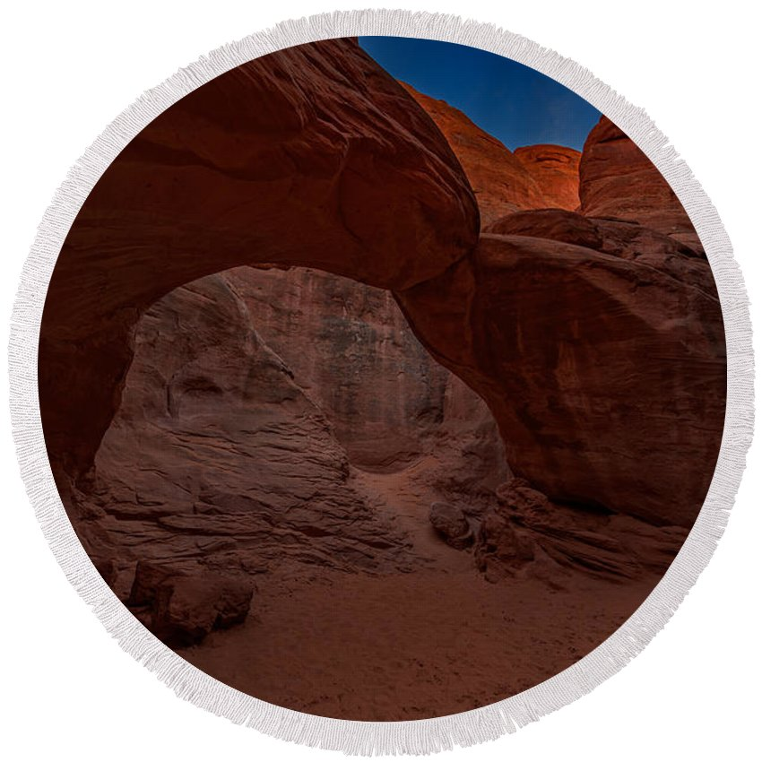 Sand Round Beach Towel featuring the photograph Sand Dune Arch II by Rick Berk