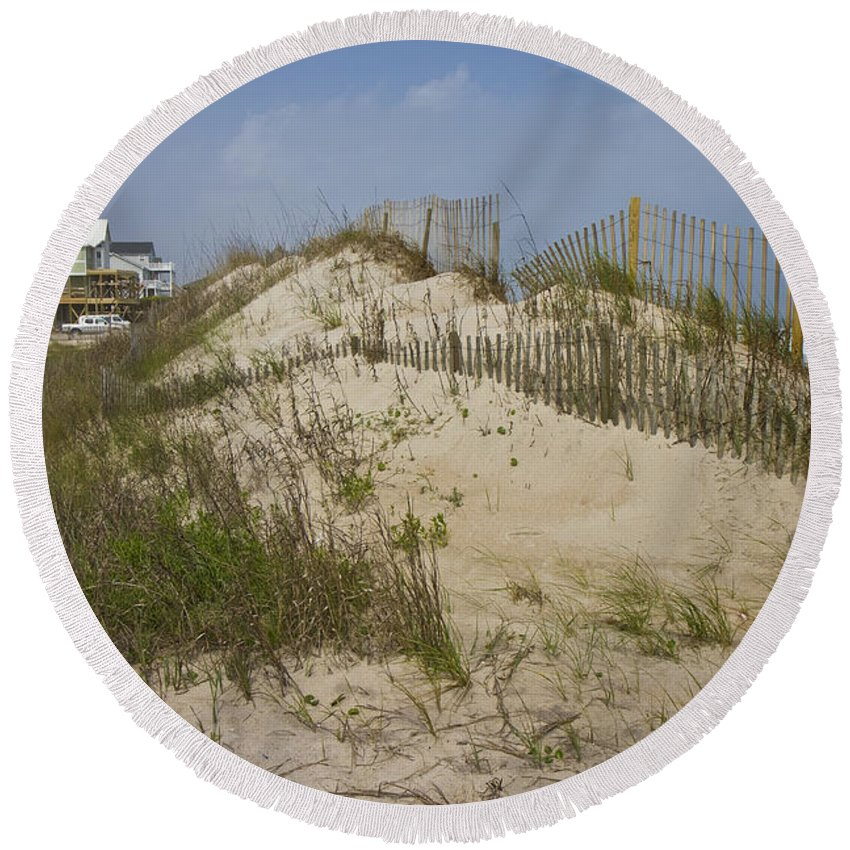 Topsail Round Beach Towel featuring the photograph Sand Dunes II by Betsy Knapp