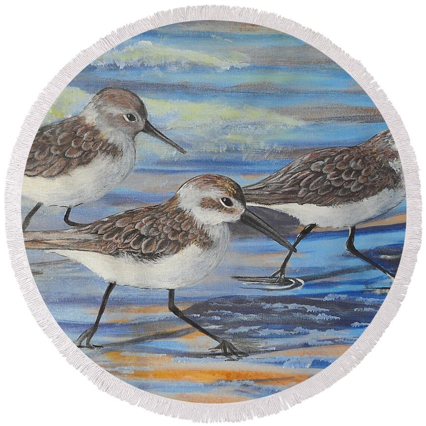 Pelican Round Beach Towel featuring the painting Sand Pipers by Edward Walsh