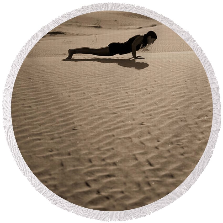 Yoga Round Beach Towel featuring the photograph Sand Plank by Scott Sawyer