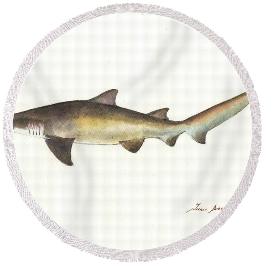 Sand Tiger Shark Round Beach Towel featuring the painting Sand Tiger Shark by Juan Bosco