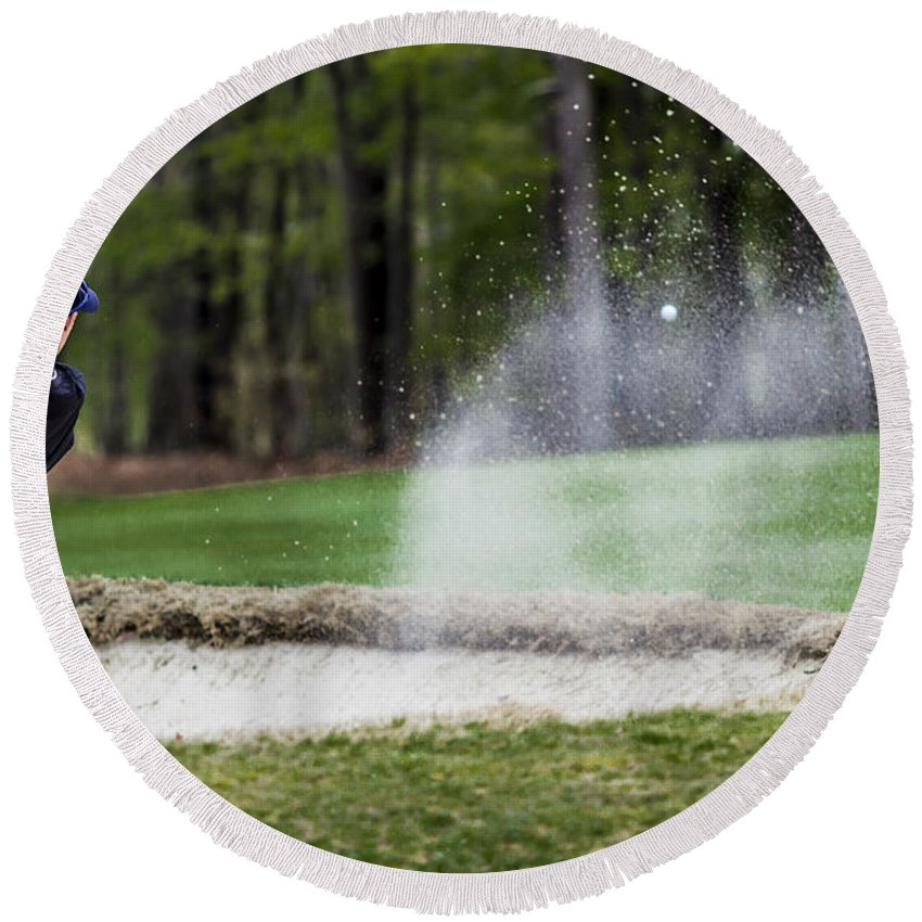 Cedarbrook Country Club Round Beach Towel featuring the photograph Sand Trap by Stephen Brown