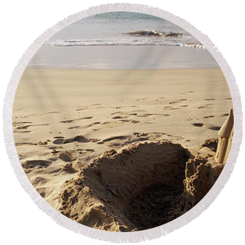Photography Round Beach Towel featuring the photograph Sandcastle On The Beach, Hapuna Beach by Panoramic Images