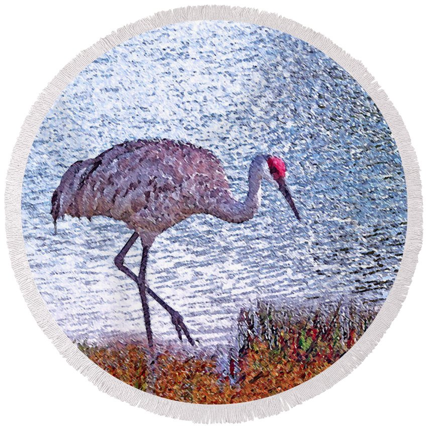 Sandhill Crane Round Beach Towel featuring the photograph Sandhill Crane Stroll Painted by Adele Moscaritolo