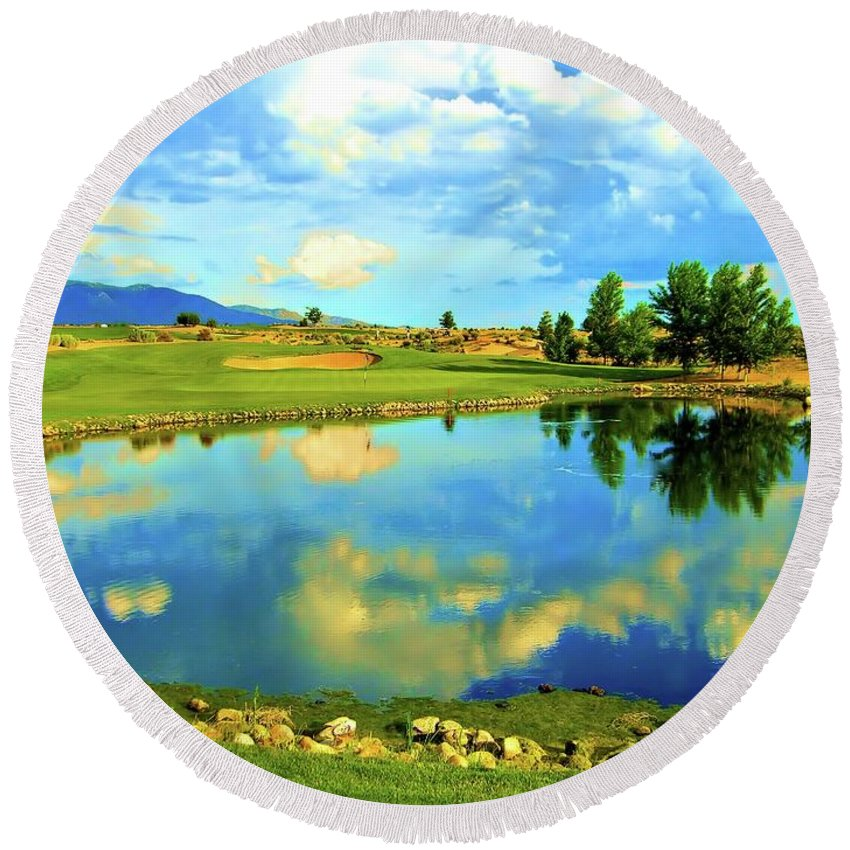 Picture Image Photo Photograph New Mexico Sandia Golf Club Casino Hotel Albuquerque Desert Lake Sky Clouds Reflected Green Fairway Course Reflecting Hole Number Fourteen 14 Fourteenth Pin Flag Bunkers Bunker Mountains Mountain Print Prints Shot Hole Number # Relection Lake High Desert New Mexico Round Beach Towel featuring the photograph Sandia Golf Club Hole #14 by Scott Carda
