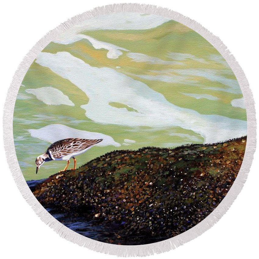 Sandpiper Round Beach Towel featuring the painting Sandpiper At Ponce Inlet by Michael Nowak