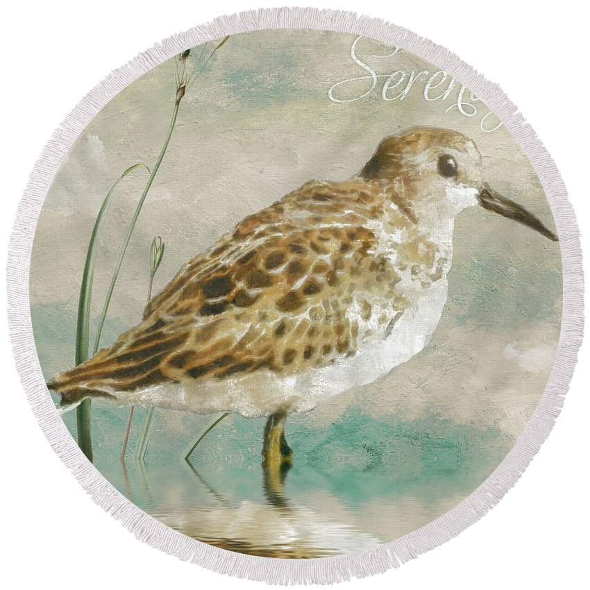 Sandpiper Round Beach Towel featuring the painting Sandpiper I by Mindy Sommers