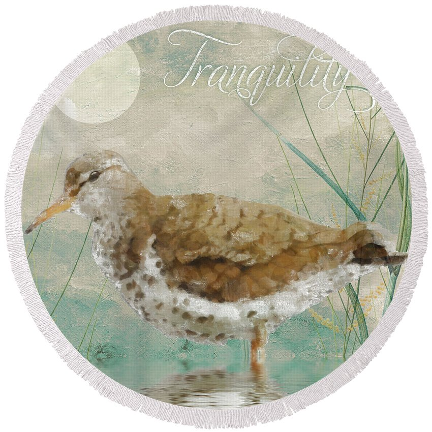Sandpiper Under The Moon Round Beach Towel featuring the painting Sandpiper II by Mindy Sommers