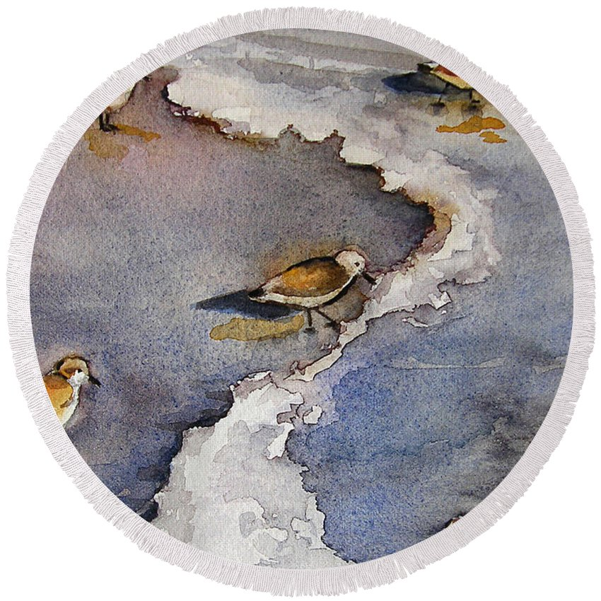 Original Paintings Round Beach Towel featuring the painting Sandpiper Seashore by Julianne Felton