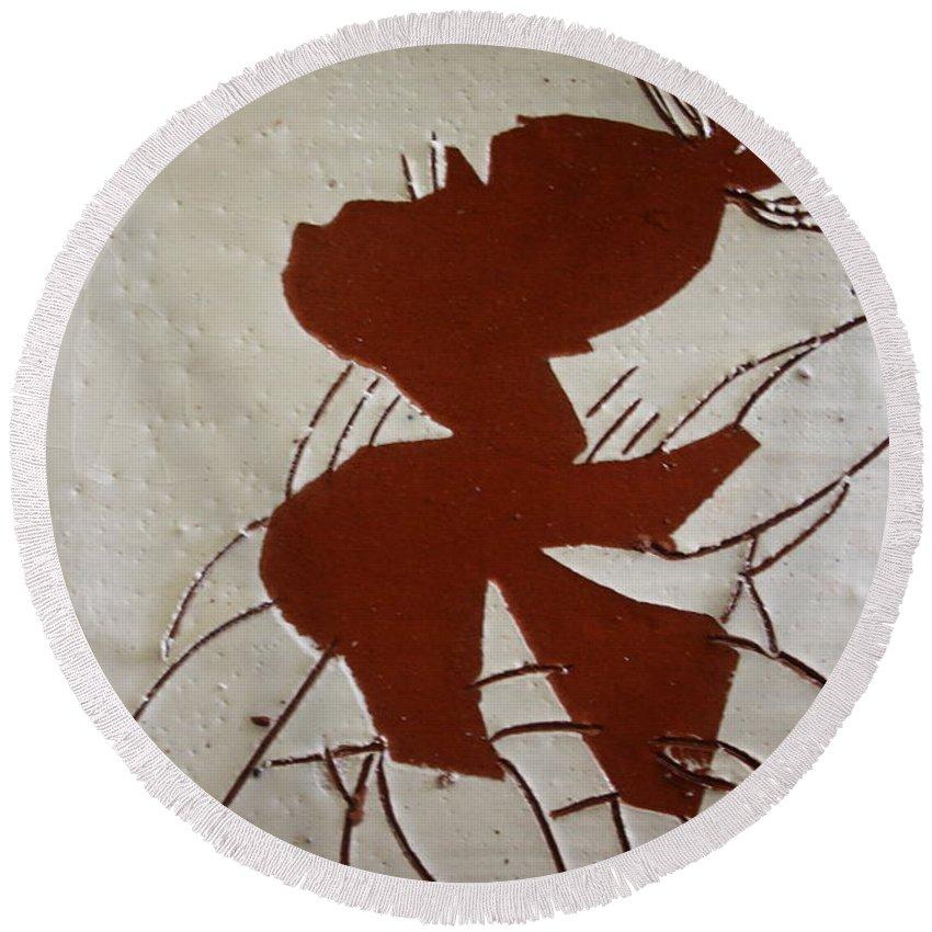 Jesus Round Beach Towel featuring the ceramic art Sandra - Tile by Gloria Ssali
