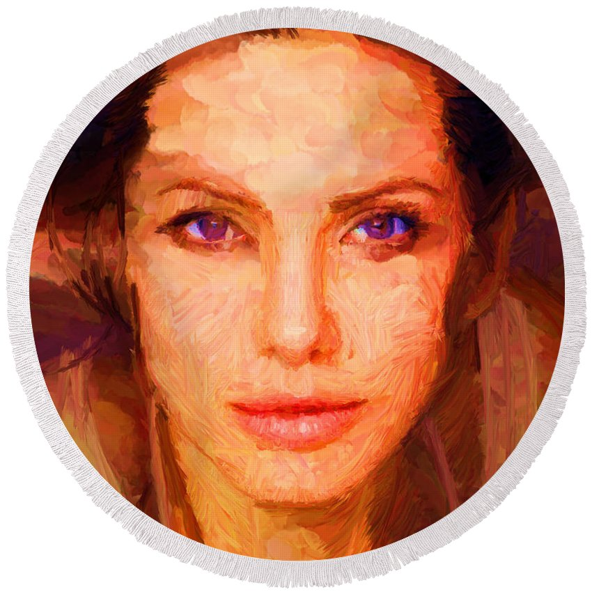 Sandra Bullock Round Beach Towel featuring the digital art Sandra Jolie by Caito Junqueira