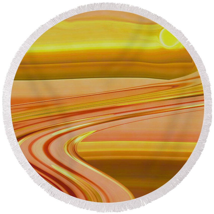 Sunset Art Round Beach Towel featuring the digital art Sands Of Time by Linda Sannuti